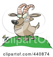 Royalty Free RF Clip Art Illustration Of A Cartoon Billy Goat On A Hill