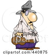Royalty Free RF Clip Art Illustration Of A Cartoon Bill Collector Carrying A Violin Case