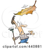 Royalty Free RF Clip Art Illustration Of A Cartoon Raking Man Watching A Big Leaf Fall by toonaday