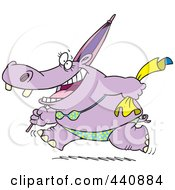 Royalty Free RF Clip Art Illustration Of A Cartoon Summer Hippo Running In A Bikini On A Beach by toonaday
