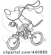 Royalty Free RF Clip Art Illustration Of A Cartoon Black And White Outline Design Of A Cycling Dog by toonaday