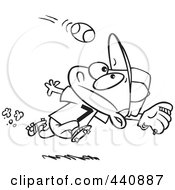 Royalty Free RF Clip Art Illustration Of A Cartoon Black And White Outline Design Of A Boy Running To Catch A Baseball