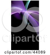 Clipart Illustration Of A Green And Purple Fractal Wave On Black