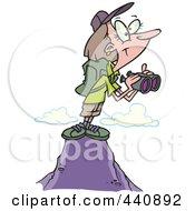 Cartoon Female Hiker On Top Of A Mountain With Binoculars
