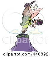 Royalty Free RF Clip Art Illustration Of A Cartoon Female Hiker On Top Of A Mountain With Binoculars by toonaday