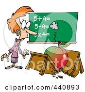 Royalty Free RF Clip Art Illustration Of A Cartoon Big Apple Crushing A Teachers Desk
