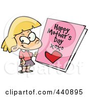 Royalty Free RF Clip Art Illustration Of A Cartoon Girl Holding A Mothers Day Card by toonaday