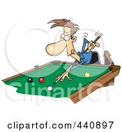 Royalty Free RF Clip Art Illustration Of A Cartoon Man Leaning Over A Billiards Table