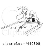 Royalty Free RF Clip Art Illustration Of A Cartoon Black And White Outline Design Of A Man Leaning Over A Billiards Table by toonaday