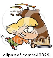 Royalty Free RF Clip Art Illustration Of A Cartoon Girl Carrying A Big Birthday Cake by Ron Leishman