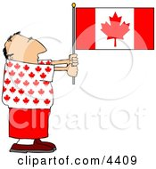 Patriotic Canadian Man Holding A Canadian Flag