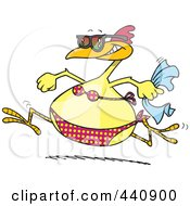 Royalty Free RF Clip Art Illustration Of A Cartoon Summer Chicken Running In A Bikini On A Beach
