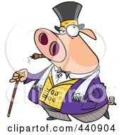 Royalty Free RF Clip Art Illustration Of A Cartoon Pig Smoking A Cigar And Walking With A Cane