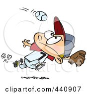 Royalty Free RF Clip Art Illustration Of A Cartoon Boy Running To Catch A Baseball