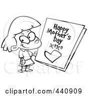 Royalty Free RF Clip Art Illustration Of A Cartoon Black And White Outline Design Of A Girl Holding A Mothers Day Card by toonaday