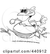 Royalty Free RF Clip Art Illustration Of A Cartoon Black And White Outline Design Of A Summer Chicken Running In A Bikini On A Beach