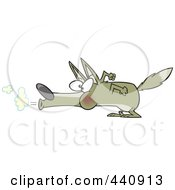 Royalty Free RF Clip Art Illustration Of A Cartoon Big Bad Wolf Blowing by toonaday
