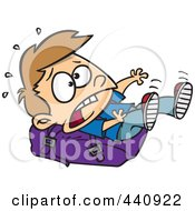 Royalty Free RF Clip Art Illustration Of A Cartoon School Boy Falling On A Heavy Backpack