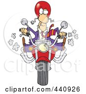 Cartoon Businessman Biker On His Motorcycle