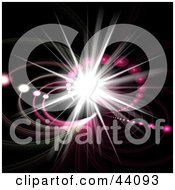 Clipart Illustration Of A Bright Star Burst With Pink Circles On Black by Arena Creative