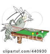 Royalty Free RF Clip Art Illustration Of A Cartoon Crawdad Leaning Over A Billiards Table by toonaday