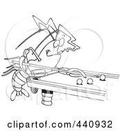 Royalty Free RF Clip Art Illustration Of A Cartoon Black And White Outline Design Of A Crawdad Leaning Over A Billiards Table by toonaday
