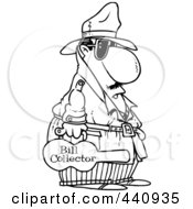 Royalty Free RF Clip Art Illustration Of A Cartoon Black And White Outline Design Of A Bill Collector Carrying A Violin Case