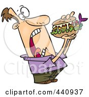 Royalty Free RF Clip Art Illustration Of A Cartoon Man Opening Wide For A Sandwich by toonaday