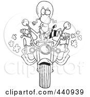 Royalty Free RF Clip Art Illustration Of A Cartoon Black And White Outline Design Of A Businessman Biker On His Motorcycle by toonaday