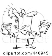 Royalty Free RF Clip Art Illustration Of A Cartoon Black And White Outline Design Of A Stressed Man Holding Past Due Bills