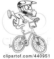 Cartoon Black And White Outline Design Of A Bmx Boy