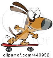 Royalty Free RF Clip Art Illustration Of A Cartoon Dog Skateboarding by toonaday