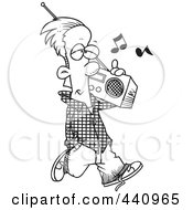 Royalty Free RF Clip Art Illustration Of A Cartoon Black And White Outline Design Of A Man Carrying A Boom Box