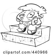 Royalty Free RF Clip Art Illustration Of A Cartoon Black And White Outline Design Of A Bored Boy Sitting On Steps