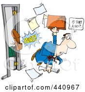 Royalty Free RF Clip Art Illustration Of A Cartoon Boss Giving A Salesman The Boot by toonaday