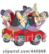 Cartoon Group Of Birders Using Binoculars In A Car