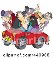 Royalty Free RF Clip Art Illustration Of A Cartoon Group Of Birders Using Binoculars In A Car by Ron Leishman