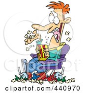 Royalty Free RF Clip Art Illustration Of A Cartoon Man Pigging Out And Making A Mess In The Movie Theater