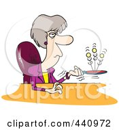 Royalty Free RF Clip Art Illustration Of A Cartoon Bored Businesswoman Playing With A Ball And Paddle by toonaday