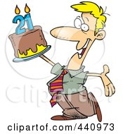 Royalty Free RF Clip Art Illustration Of A Cartoon Birthday Man Holding Up A Cake by toonaday