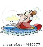 Royalty Free RF Clip Art Illustration Of A Cartoon Man Boating by toonaday