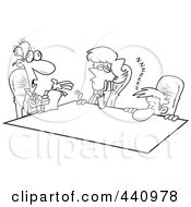 Royalty Free RF Clip Art Illustration Of A Cartoon Black And White Outline Design Of Bored Employees At A Meeting
