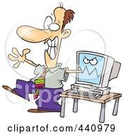 Royalty Free RF Clip Art Illustration Of A Cartoon Computer Biting A Businessmans Arm