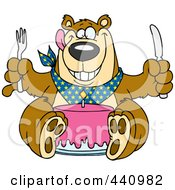 Royalty Free RF Clip Art Illustration Of A Cartoon Birthday Bear Eating Cake by Ron Leishman