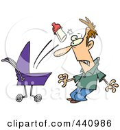 Royalty Free RF Clip Art Illustration Of A Cartoon Baby Throwing A Bottle At Its Father