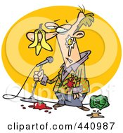 Royalty Free RF Clip Art Illustration Of A Cartoon Comedian Being Bombed With Food by toonaday