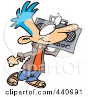 Royalty Free RF Clip Art Illustration Of A Cartoon Boy Carrying A Boom Box