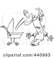Royalty Free RF Clip Art Illustration Of A Cartoon Black And White Outline Design Of A Baby Throwing A Bottle At Its Father