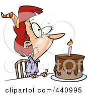Royalty Free RF Clip Art Illustration Of A Cartoon Birthday Woman With A Cake by toonaday