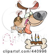 Royalty Free RF Clip Art Illustration Of A Cartoon Birthday Dog With A Bone Cake by Ron Leishman